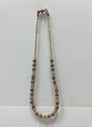 halsnahe Kette mit viel Strass und Kupferperlen, 40 cm lang