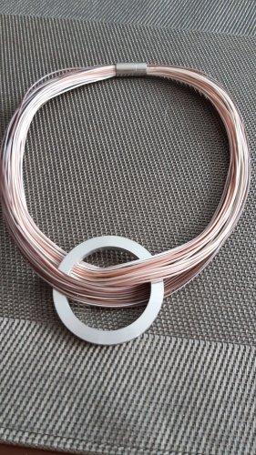 Halsreifen Silber/rosa mit Silber Anhänger