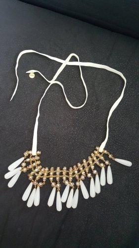 Hallhuber Collier de perles blanc-doré