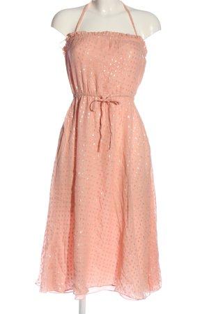 Halston heritage Abito stile impero rosa-argento stampa integrale elegante