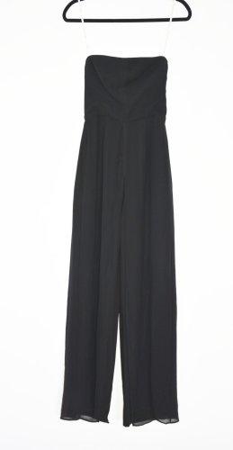 HALSTON Heritage Strapless Bustier crepe georgette jumpsuit schwarz US 4 XS