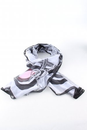 Neckerchief white-black themed print casual look