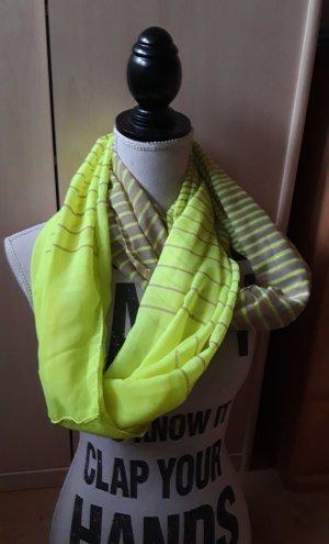 Snood light grey-neon yellow