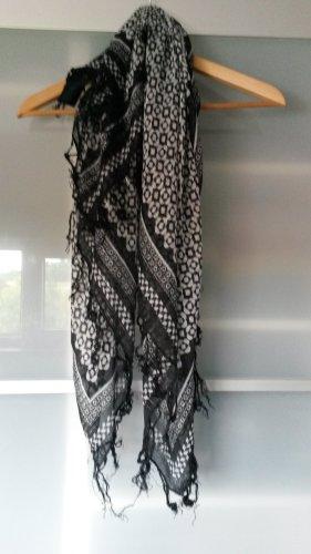 H&M Szalik z frędzlami czarny-jasnoszary