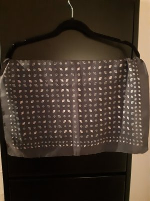 Pañuelo de seda gris oscuro-blanco puro