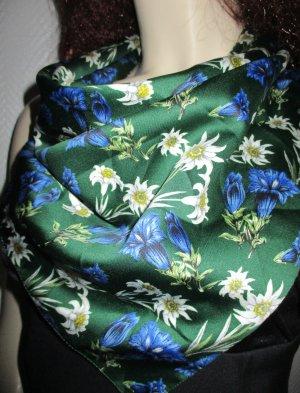 Halstuch Tuch Schal Wiesn Oktoberfest Trachten Mode waldgrün grün Print Edelweiß Kornblumen 60x60cm TOP