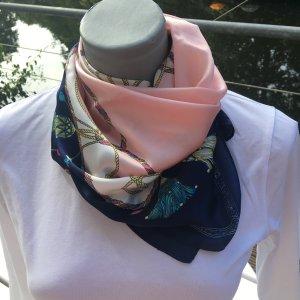 Zijden sjaal lichtroze-staalblauw Viscose