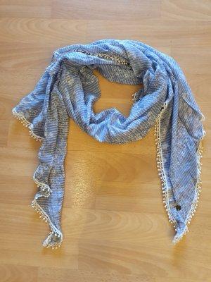 LOGG Foulard bleu fluo-blanc coton