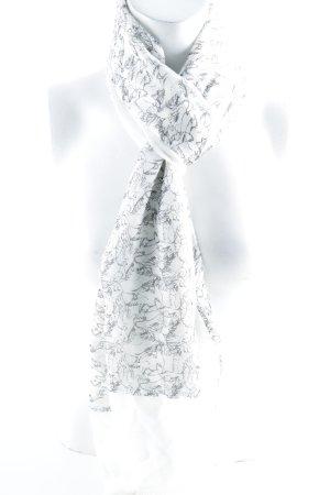 Neckerchief white-dark grey art pattern casual look