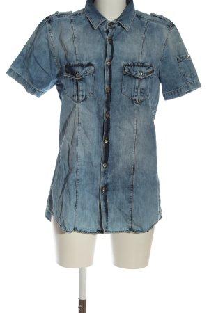 HAMAKI-HO Camisa de manga corta azul look casual