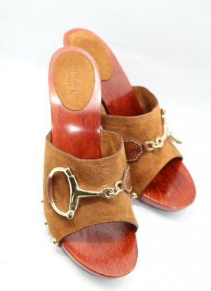 Gucci High Heel Sandal light brown-bronze-colored leather