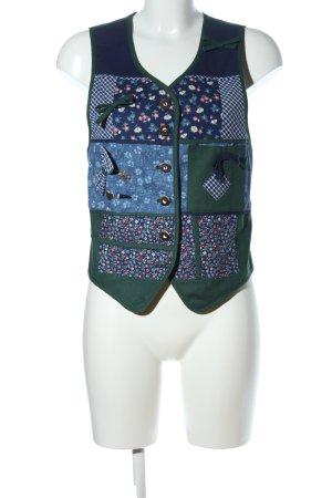 Hammerschmid Trachtenweste grün-blau Blumenmuster Casual-Look