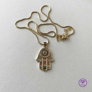 ♈️ Hand der Fatima Halskette mit mehrfarbiger Dekoration