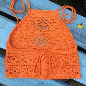 Handmade Gehaakte top oranje-neonoranje