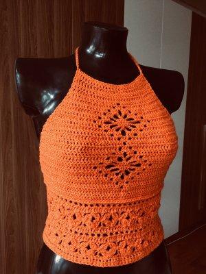 Handmade Crochet Top orange-neon orange