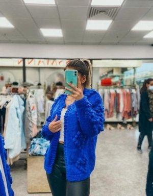 Boutique Comtesse Kurtka z grubej dzianiny niebieski