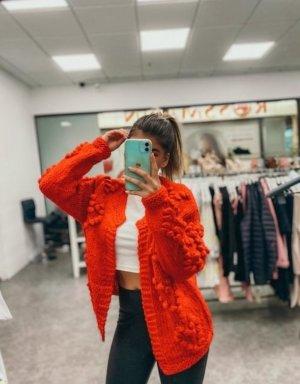 Boutique Comtesse Kurtka z grubej dzianiny czerwony