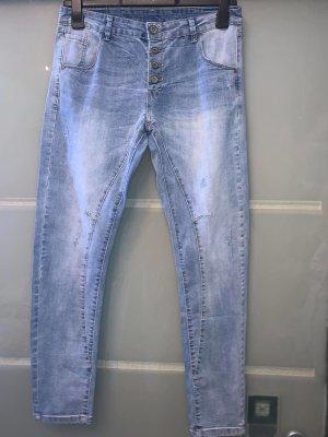 Hand Work Denim Jeans boyfriend bleu azur coton