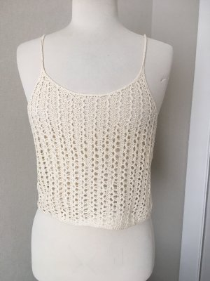 Crochet Top cream-oatmeal cotton