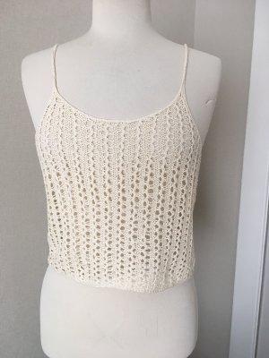 Haut en crochet crème-beige clair coton