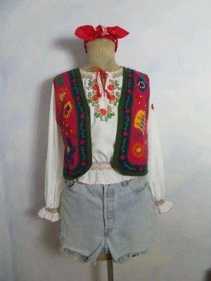 Handbestickte Susan Bristol Folk Weste - Größe S - Rot Grün 1995 Vintage