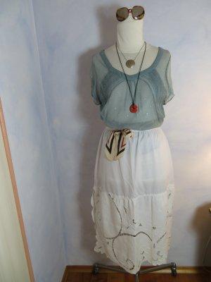 Vintage Falda de encaje blanco-blanco puro