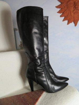 Handgearbeitete Premium Leder Stiefel von Moda di Fausto - Gr. 38 - Schwarz - feinstes Kalbsleder