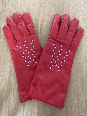 Handgefertigte Echtleder Handschuhe mit Swarovski Steinen