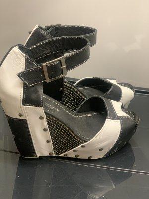 Plateauzool sandalen wit-zwart