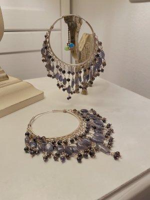 Handgefertigte Silbercreolen mit Steinen Boho