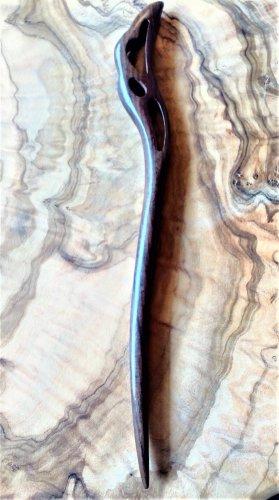 Wpinki do włosów czarno-brązowy Drewno