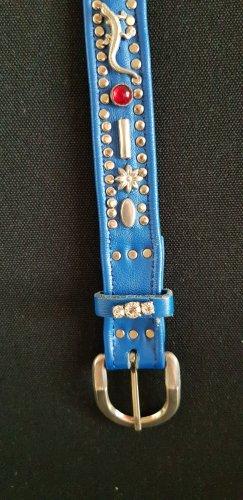 Cinturón de pinchos azul acero