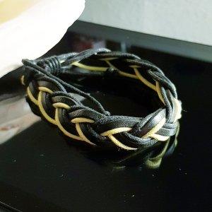 Lederen armband zwart-sleutelbloem