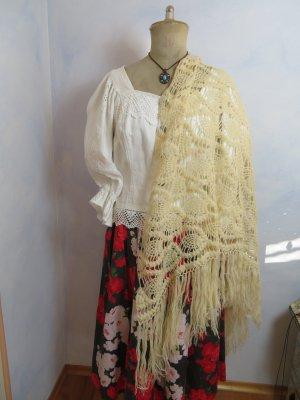 Handgehäkelte Hippie Stola - Elfenbein 60er Jahre Dreieckstuch - Überwurf Umhang