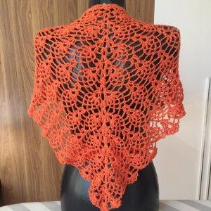 Handgehäkelter Dreieck Tuch, Oberteil, Orangen Farbe, Lace, 160x62cm