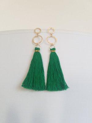 Handgemachte Boho-Ohrringe mit grüner Quaste (Goldfarben)