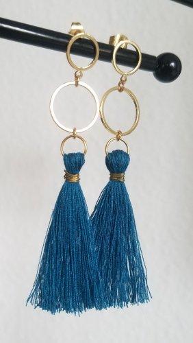 Handgemachte Boho-Ohrringe mit petrol-farbender Quaste (Goldfarben)