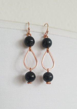 Handgemachte Ohrhänger mit schwarzen Achat-Perlen (Rosegoldfarben)