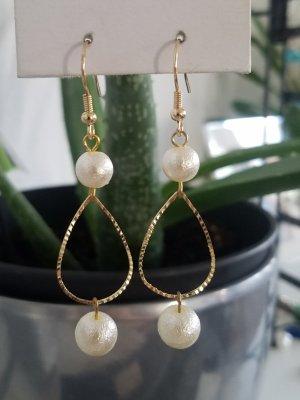 handmade Pareloorbellen wit-goud
