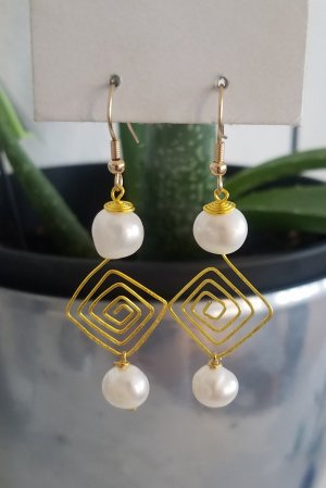 handmade Dangle white-gold-colored