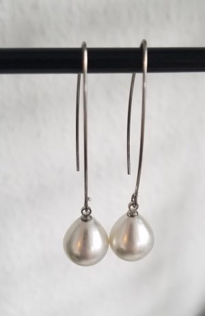 handmade Pearl Earring white-silver-colored