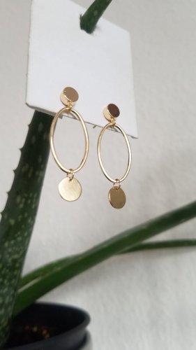 Handgemachter Ohrring mit Plättchen (Goldfarben)