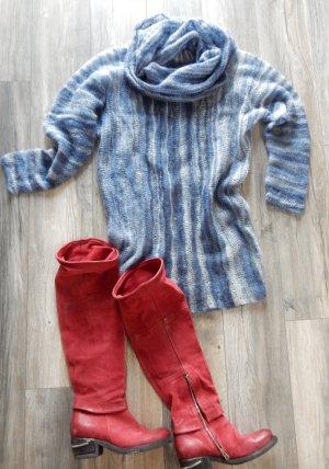 Vestido de lana azul aciano Seda