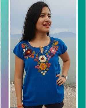 Handmade Short Sleeved Blouse multicolored