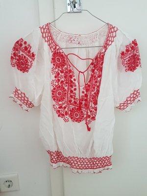 Batik shirt wit-donkerrood