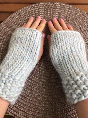 Handmade Mitaine bleu azur laine