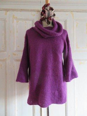 handgestrickter oversize Kimono Pullover Handarbeit aus violetter Mohair/Wolle/Tierhaar Wolle S M L
