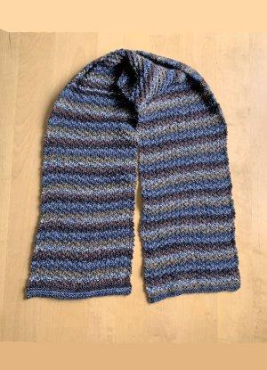 handgestrickter Schal in blau-braun Tönen, 122 cm lang