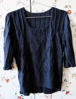Short Sleeve Knitted Jacket dark blue cotton