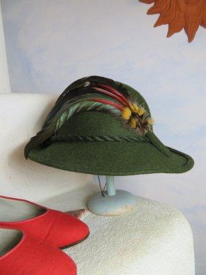 Vintage Cappello tradizionale verde scuro Lana vergine